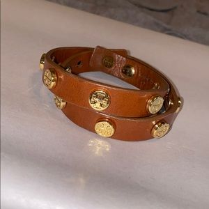 Tory Burch Wraparound Brown Leather Bracelet